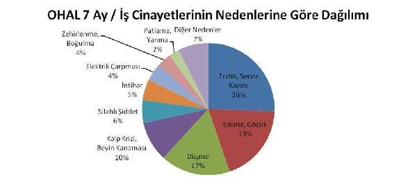 İş kazalarının nedenleri de trafik/servis kazaları, ezilme/göçükler ve yüksekten düşme. İstanbul (DHA)