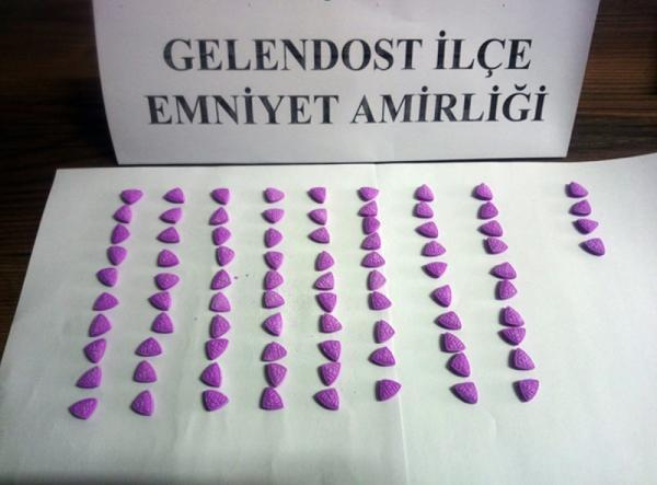 ISPARTA'NIN GELENDOST ILCESINDE SIGARA PAKETININ ICERISINE GIZLENMIS 84 ECSTASY HAP ELE GECIRILDI.(FOTO:ISPARTA-DHA)