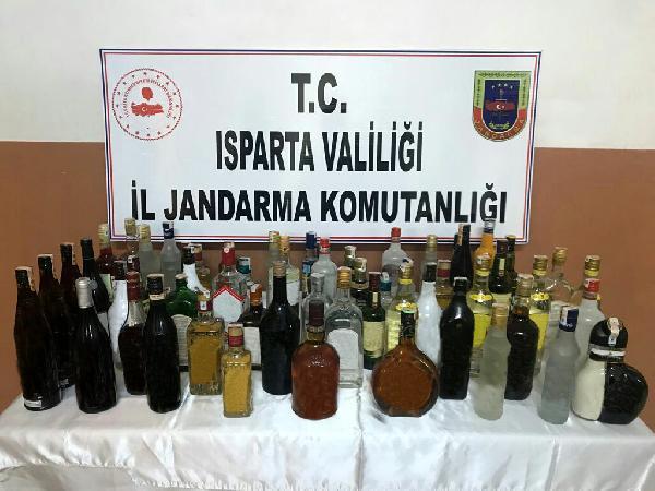 ISPARTA'DA DUZENLENEN KACAK VE SAHTE ALKOL OPERASYONUNDA 2 SUPHELI YAKALANDI.(FOTO:ISPARTA-DHA)