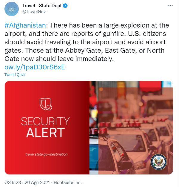 ABD'den Kabil uyarısı: Büyük bir patlama oldu, bölgeden uzaklaşın (DHA)