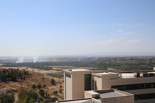 DIYARBAKIR'DA UNESCO DUNYA KULTUR MIRASI LISTESI'NDE YER ALAN HEVSEL BAHCELERI'NIN 2 NOKTASINDA CIKAN ANIZ YANGINI, ITFAIYE EKIPLERININ MUDAHALESIYLE SONDURULDU. FOTO: EMRAH KIZIL/DIYARBAKIR,(DHA)